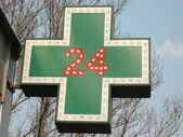 Medical  twenty-four-hour drugstore signboard — Stock Photo