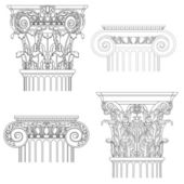 Classic style column , vector set — Stock Vector