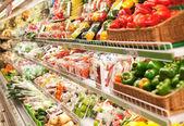 Shelf in the supermarket — Stock Photo