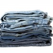 Stack of blue jeans new — Foto Stock