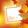 Autumn maple leaves with floral greeting card — Stock Vector