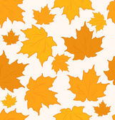 Autumnal maple leaves, seamless background - vector — Stock vektor