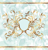 Royal background with golden ornate frame and heraldic shield — Vector de stock