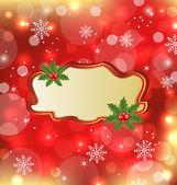 Marco de plantilla con muérdago para tarjeta de navidad de diseño — Vector de stock