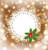Tarjeta de felicitación de navidad con muérdago — Vector de stock