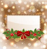 Tarjeta elegante de navidad con el muérdago y el arco — Vector de stock