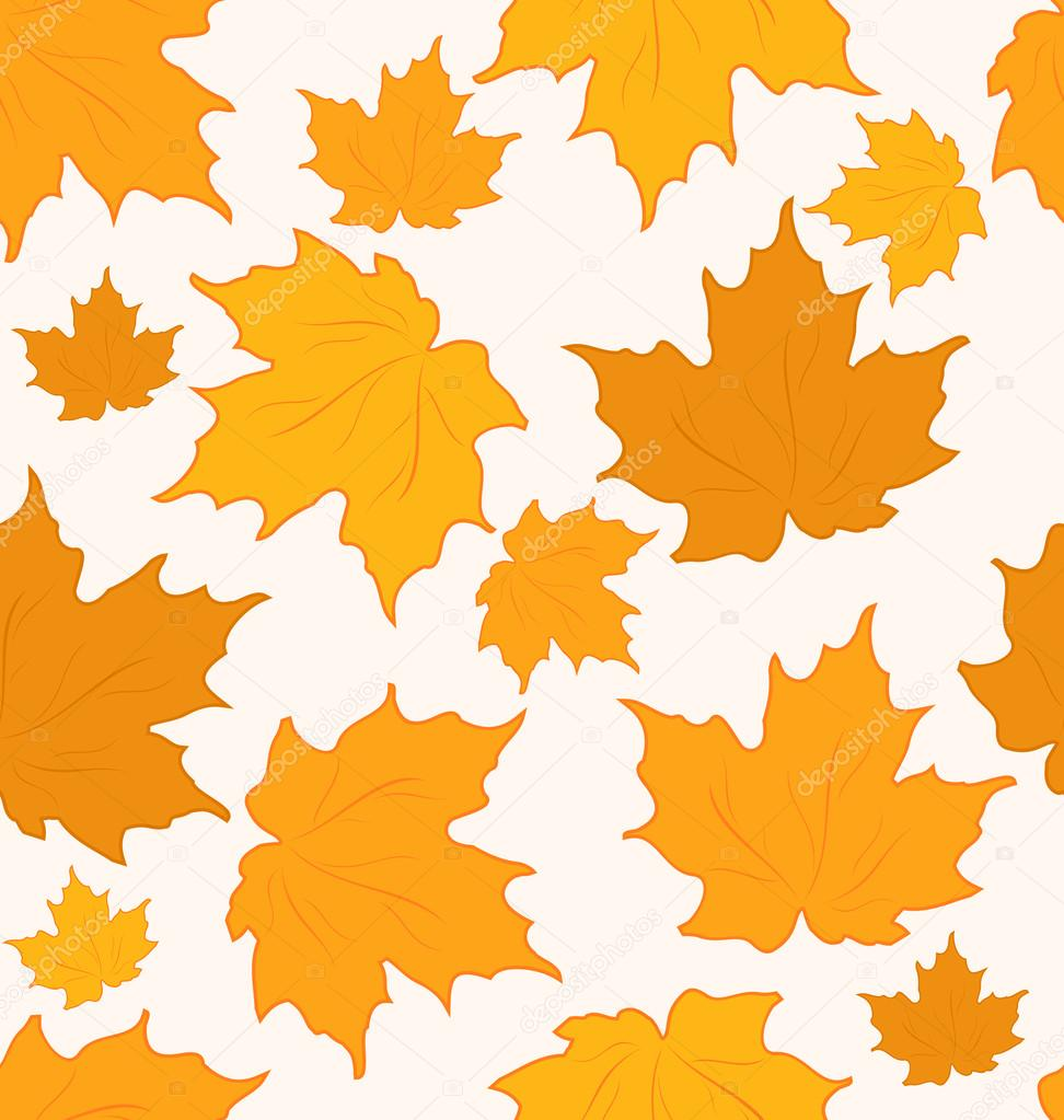 Illustration autumnal maple leaves, seamless background - vector   #12666354