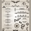 Set floral ornate design elements (7) — Stock Vector