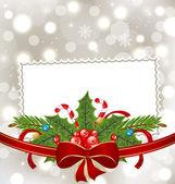 Elegantní vánoční přání s Dovolená dekorace — Stock vektor