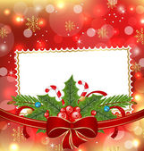 Greeting elegant card with Christmas decoration — Stock Vector