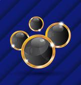 золотой речи пузыри изолированные на синем фоне — Cтоковый вектор