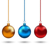 Christmas colorful balls isolated on white background — Stock Vector