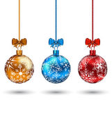 Christmas multicolor balls with bows isolated on white backgroun — Vecteur
