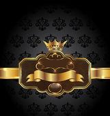Vintage golden emblem on black floral background — Stock Vector