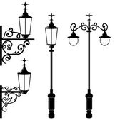 Set of vintage various streetlamp — Stock Vector