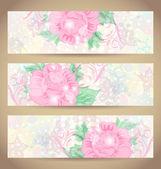 Instellen van romantische mooie kaarten met bloem — Stockvector