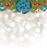 Vánoční svítící pozadí s dovolená dekorace — Stock vektor