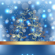 Celebration card with abstract Christmas floral tree — Stock Vector