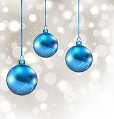 фон со снежинками и рождественские шары — Cтоковый вектор