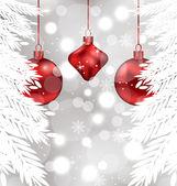 Schimmernde hintergrund mit weihnachtskugel — Stockvektor