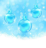 Winter background with Christmas balls and snowflakes — Vector de stock