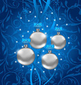 Blue holiday background with Christmas balls — Vector de stock
