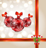 Celebration background with Christmas balls and holiday decorati — Vector de stock