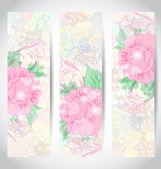 ορίσετε ρομαντικό όμορφη κάρτες με λουλούδι — Διανυσματικό Αρχείο