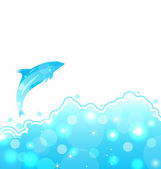 Abstrakte wasser karte mit delphin — Stockvektor