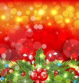 Christmas glowing background with holiday decoration — Stock Vector