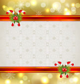Christmas background with holiday decoration — Stock Vector