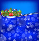 Weihnachten glühend hintergrund mit urlaub dekoration — Stockvektor