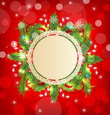 Decoração do feriado de Natal com cartão — Vetor de Stock