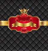 Vintage golden emblem with royal crown — Stock Vector