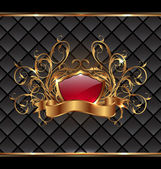 Gold elegance frame with heraldic shield — Stock Vector