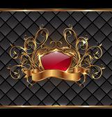 Cornice oro eleganza con scudo araldico — Vettoriale Stock