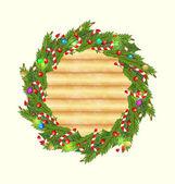 Fond bois noël avec décoration de vacances — Vecteur