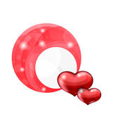 Valentine's day bubble with red hearts — Stock Vector