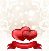 Valentine's day or wedding invitation with hearts — Stock Vector