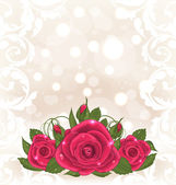 Luxury card with bouquet of pink roses — Stock Vector