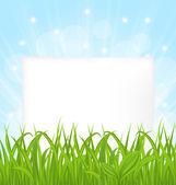 Tarjeta natural con hierba verde y la hoja de papel — Vector de stock