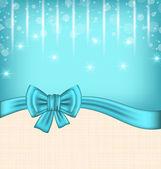 ギフト弓でお祝いカードを輝き — ストックベクタ
