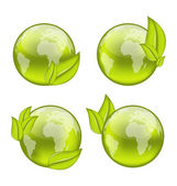 Set icon world with eco green leaves isolated on white backgrou — Stock Vector