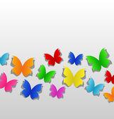设置的切出七彩蝴蝶,灰色纸 — 图库矢量图片