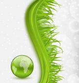 Abstrakte broschüre mit globalen planeten und gras — Stockvektor