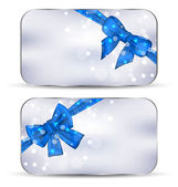 Set labels with blue gift bows isolated — Stock Vector