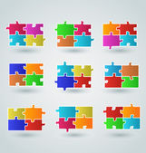 Collection abstract colorful puzzle pieces — Stockvektor