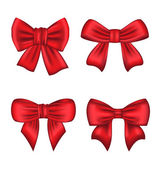 Set red gift bows isolated on white background — Stock Vector