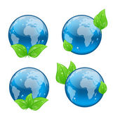 Set icon earth with green leaves isolated on white background — Stock Vector