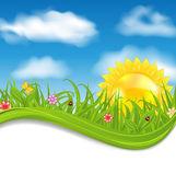 Summer card with sky, cloud, sun, grass, flower, butterfly, lady — Stock Vector